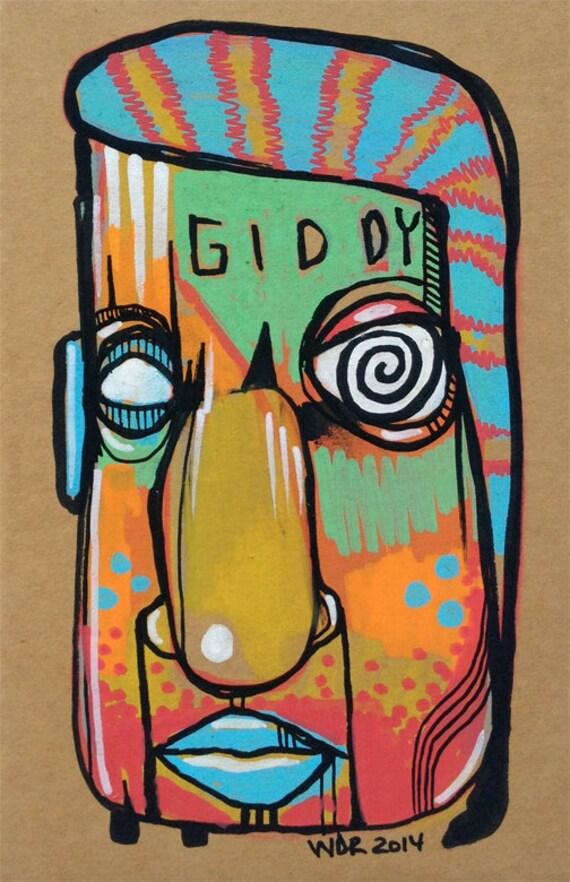 Giddy - Original Illustration on Cardboard