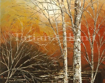 Hand embellished giclee print on CANVAS of original landscape painting textured stretched birch trees forest water - by Tatiana Iliina