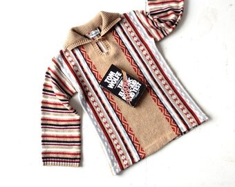 Taos / Vintage Striped Sweater / 70s Sweater / Tribal Sweater / XS