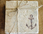 The Anchor ** Designer Nautical Coaster Set of 4 ** Natural Stone
