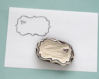 To From rubber stamp - Gift Tag stamp - scalloped edges - label stamp