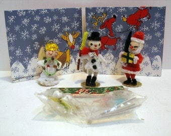 Vintage Lot of 4 Christmas Pipe Cleaner Santa Angel Snowman Bottle Brush