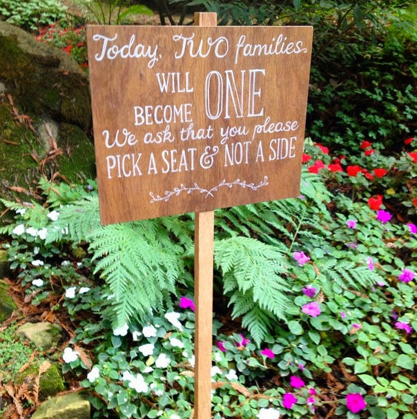 Ready to ship! Custom Wedding Walkway Aisle Sign on Stake. Staked Sign. two families become one. Pick a seat, not a side.