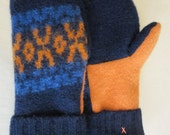 Men's Blue and Orange Wool Sweater Mittens