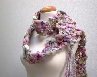 morning light. luxury handknit scarf . chunky knit handspun merino wool curly locks sari silk ribbon lace . orchid pink smoky blue grey sand
