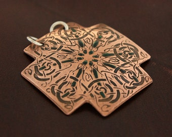 Celtic cross from The Book of Kells, trinity college, copper cross, celtic knot necklace, celtic necklace, celtic cross jewelry, knot