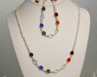 Rainbow, Pearl  Necklace set
