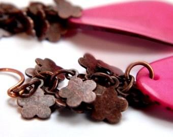 Tagua Slice Copper Flower Earrings /  Vibrant Pink