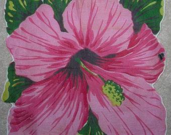 Vintage Pink Hibiscus Handkerchief Herrmann
