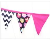 Hot Pink and Black Banner, Black White Chevron Banner,Cute Owl Fabric Banner, Hot Pink, Chevron Fabric Banner, Birthday Decor, Pennant Flags