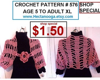 CROCHET SHRUG PATTERN and flower pattern,  crochet patterns, age 5 to adult large, plus custom sizes, num. 576