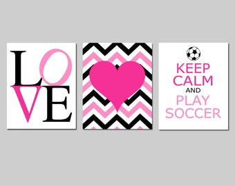 Girls Soccer Wall Art Trio - LOVE, Chevron Heart, Keep Calm and Play Soccer - Set of 3 Prints - Choose Your Colors