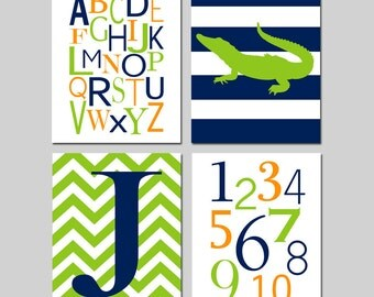 Navy Lime Orange Baby Boy Nursery Art - Chevron Initial, Stripe Alligator, Alphabet, Numbers - Set of 4 Prints - CHOOSE YOUR COLORS