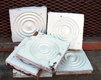 Vintage Wood Rosettes (1) Molding White Chippy Paint ARCHITECTURAL Salvage Decor Rustic Cottage Decor