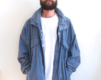 vintage DUSTY BLUE lightweight parka. XL