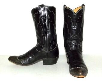 Vintage Tony Lama Black leather Cowboy Boots - womens size 6.5 A Narrow width