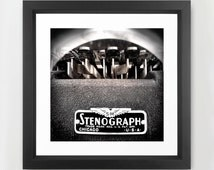 Stenograph fine art print, photography, Chicago, typewriter, vintage instrument, black keys, sepia toned, 17 x 17, unframed, square print