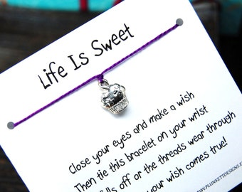 Life Is Sweet - Wish Bracelet With Star Sprinkled Cupcake Charm - Shown In The Color PLUM - Over 100 Different Colors Are Also Available