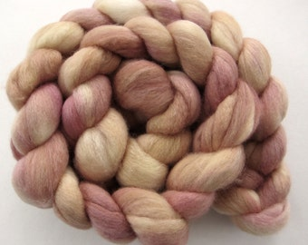 Organic Polwarth Mulberry Silk blend top, hand dyed, pink, buttery yellow, 4 oz.