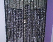 Belly Dance Accent Skirt Crocheted with Silver Beads, Plus Size, Burlesque, Tribal, Fusion, Cabaret