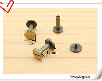 11mm x 12 mm Anti brass screws rivets 15 sets Chicago screw / Concho screw Non-Rusting H43