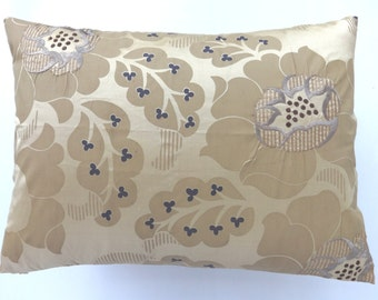 Cream printed dupioni Silk pillow cover with flower embroidery 16 X 22 inches new arrivals.  2 in stock ready to ship