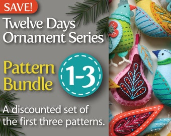 Twelve Days Series 1-3 Pattern Bundle: Partridge & Pear, Turtle Dove and French Hen