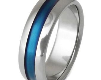 Thin Blue Line Titanium Wedding Band - Blue Ring -  b14