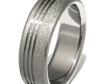 Frost Titanium Wedding Band - Textured Ring - f1