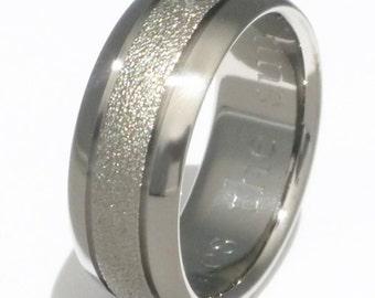 Frost Titanium Wedding Band - Textured Custom Ring - f3