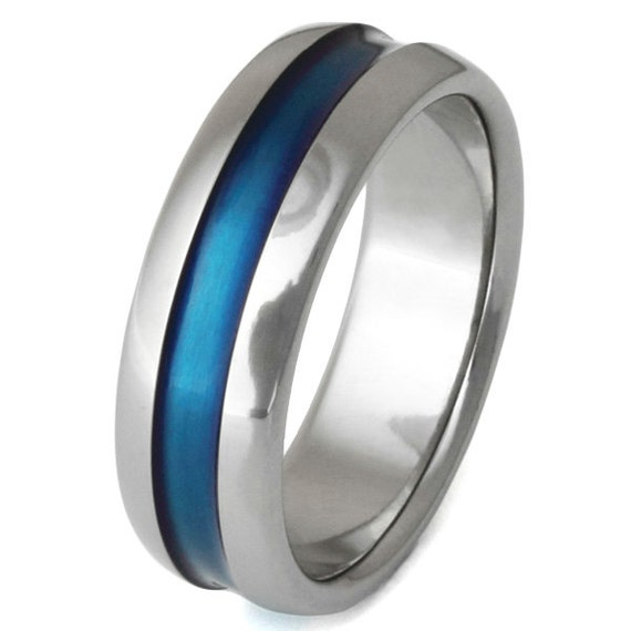 Thin Blue Line Titanium Wedding Band Blue Ring b14