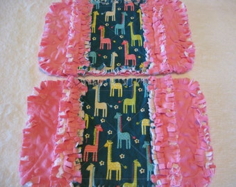 2 New Giraffes Baby Girl Burp Cloths with Minky backing