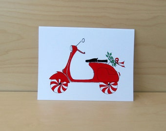 Vespa Scooter - Christmas - Holiday Card set of 8 - READY TO SHIP
