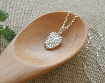 Tiny Catmint Leaf Pendant Necklace - Pure Silver Real Leaf Pendant, Thin Chain Necklace, Herb Jewelry, Gift for Cat Lover