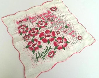 Vintage Florida handkerchief hankie pink with hibiscus flowers mint with original tag souvenir map