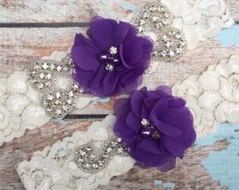 Purple Wedding garter / Lace garter SET / bridal  garter / vintage lace garter / chiffon flower / toss garter / wedding garter