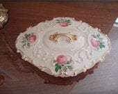 Lovely Vintage Covered Dish, Roses, Filigree, Ornate, Gilded, Pretty, Scalloped, Lidded, Serving, Decorative, Cream, Pink, Green Leaves