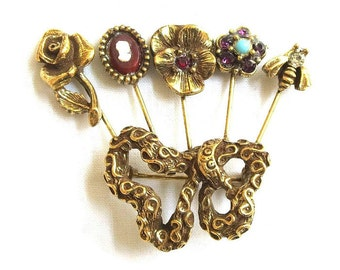Hat or Stick Pin Collection Brooch with Cameo, Fly, Pansy and Rose with Rhinestones & Faux Turquoise Vintage Abstract Bow