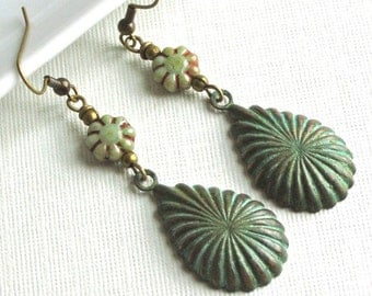 Patina Teardrop Earrings - Verdigris Jewelry, Nature Jewelry, Czech Flower, Floral Jewelry