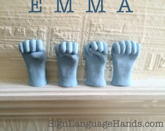 Name in ASL - Hand Sculpture Art - Name Decoration - Unique Handmade Sign Language Art Scupltures - Any 4 Letters - You Choose Colors