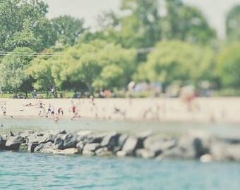 BUY 2 GET 1 FREE Toronto Photography, Lake Photo, Beach Photography, Sand, Green Blue Beige, Blurred Beach, Toronto Islands - Toronto Beach