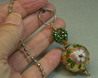 Vintage Chinese 1970s Gold Raised Cloisonne Bead Fan Pull, Green Iridescent Crystal Bead