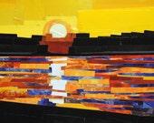 City Sunsets, 5x7 inch ORIGINAL COLLAGE ART