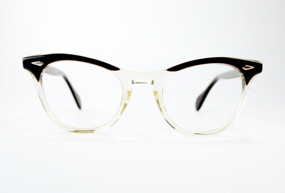vintage 50s cat eye glasses american optical two tone black to clear usa optical nos frame