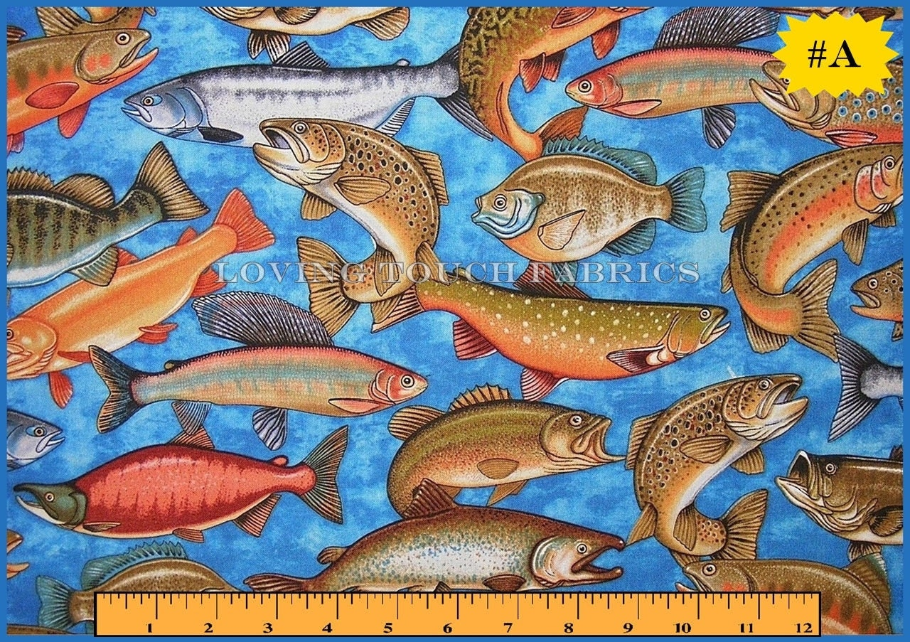 Rjr sports fishing fish cotton fabric 1 2 yard 18 x for Fish fabric by the yard