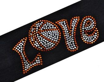 BASKETBALL LOVE Rhinestone Design Cotton Stretch Headband - Choose Your Team Color!