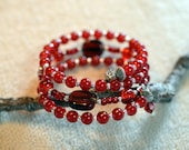 Red and silver glass bead memory wire bracelet, cuff, dangle, wrap, coil