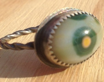 Sterling Silver ring with oval Ocean Jasper Cabochon