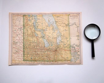 Vintage 1921 Map of Manitoba Canada Canadian Map Art Deco