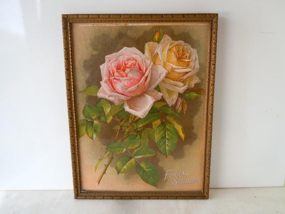 RESERVED Vintage 1940s Framed Art Print Pink and Yellow Roses Decorative Wood Frame Shabby Home Decor